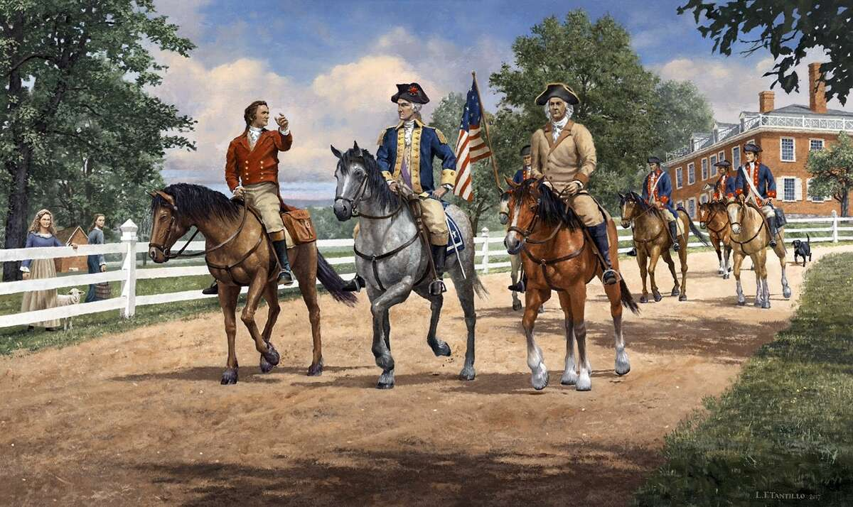 """""""Schuyler's Guest, 1783"""" an original painting by Len Tantillo, a noted painter of historical scenes, commissioned by David Hayes. (Photo courtesy of Len Tantillo)"""