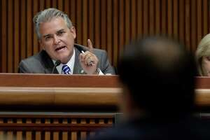Assemblyman Steve McLaughlin angrily asks a question of Howard Zucker, commissioner Department of Health, during a joint legislative public hearing on water quality and contamination on Wednesday, Sept. 7, 2016, in Albany, N.Y.    (Paul Buckowski / Times Union)