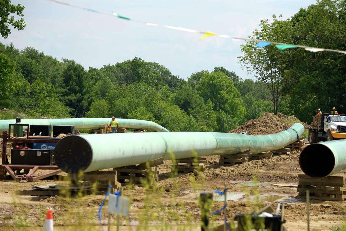 A view of pipeline construction work going on near Meads Lane, seen here on Monday, July 10, 2017, in Delmar, N.Y. Pipeline work is what's happening on Route 146 in Clifton Park in August 2021; motorists have been questioning what the work is about. (Paul Buckowski / Times Union)