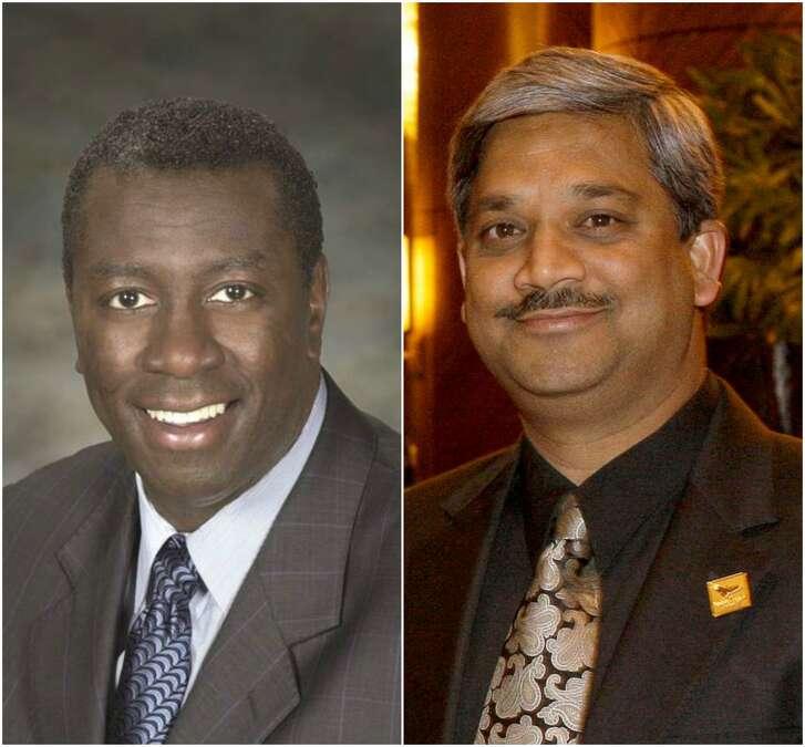 HCC trustee Christopher Oliver, left, and Houston Public Works Director Karun Sreerama.