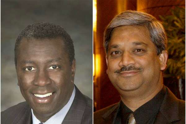HCC trustee Christopher Oliver, left, and Houston Public Works Director Karun Sreerama.