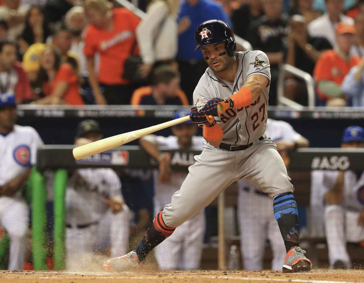 MIAMI, FL - JULY 11: Jose Altuve #27 of the Houston Astros and the American League swings at a pitch during the 88th MLB All-Star Game at Marlins Park on July 11, 2017 in Miami, Florida.