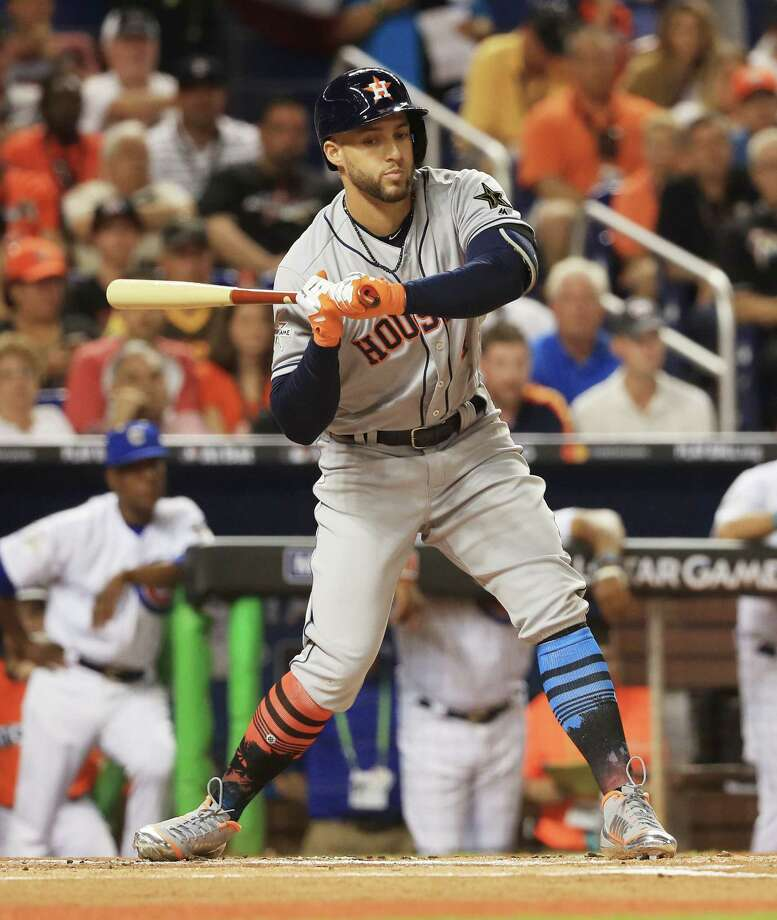 MIAMI, FL - JULY 11: George Springer #4 of the Houston Astros and the American League swings at a pitch during the 88th MLB All-Star Game at Marlins Park on July 11, 2017 in Miami, Florida. Photo: Mike Ehrmann, Getty Images / 2017 Getty Images