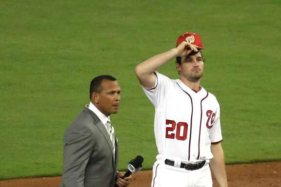 MIAMI, FL - JULY 11: Daniel Murphy #20 of the Washington Nationals and the National League is interviewed by former MLB player Alex Rodriguez during the 88th MLB All-Star Game at Marlins Park on July 11, 2017 in Miami, Florida.  (Photo by Rob Carr/Getty Images)