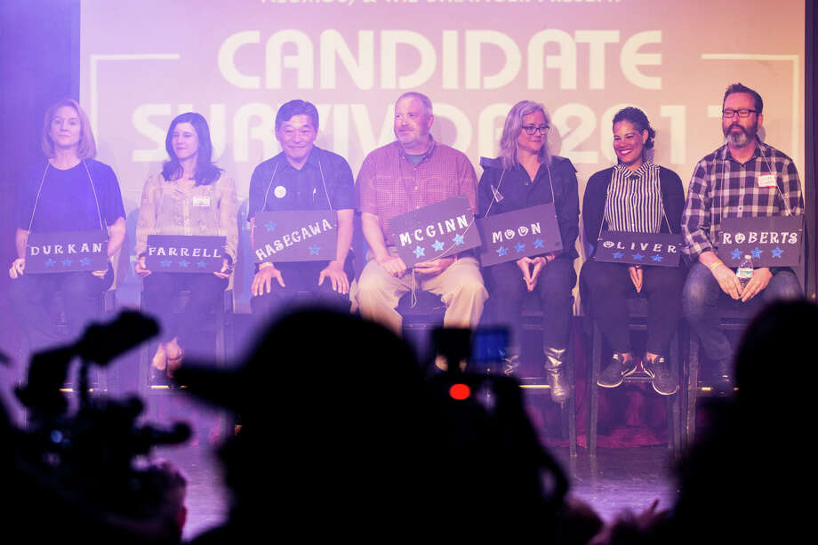 Seven mayoral candidates sit on stage at the start of the the mayoral race Candidate Survivor 2017 at Neumos on Tuesday, July 11, 2017. Photo: GRANT HINDSLEY, SEATTLEPI.COM / SEATTLEPI.COM