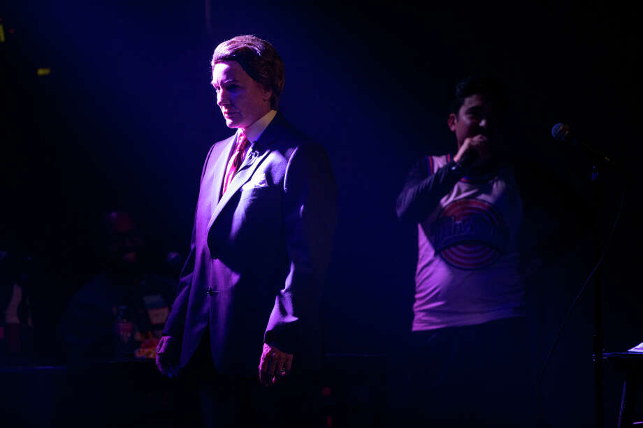 Former US attorney Jenny Durkan walks on stage dressed as Sean Spicer in the style of Saturday Night Live's Melissa McCarthy during the talent portion of the mayoral race Candidate Survivor 2017 at Neumos on Tuesday, July 11, 2017. Photo: GRANT HINDSLEY, SEATTLEPI.COM / SEATTLEPI.COM