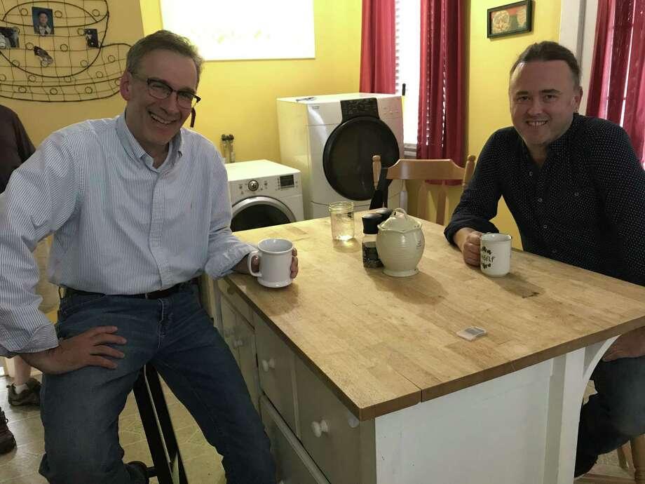 Jeff Strange, left, and Jimmy Kelly in Kelly's Albany kitchen (photo by Amy Biancolli)