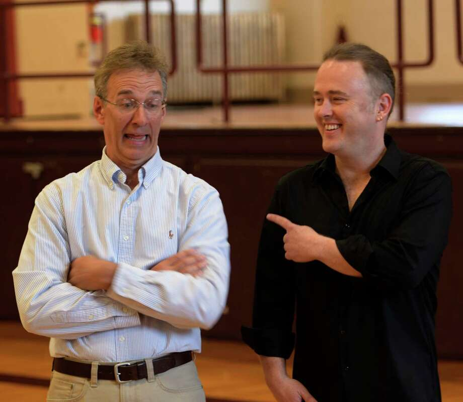 """Jeff Strange, left and Jimmy kelly enjoy the moment when they spoke to their cast members before rehearsal at the Albany College of Pharmacy gym for their new play """"Find Your Way Home""""  Monday July 10, 2017  in Albany, N.Y.  The play will have it's local premiere on July 17th at the Palace Theatre in Albany.  (Skip Dickstein/Times Union) Photo: SKIP DICKSTEIN / 20040990A"""
