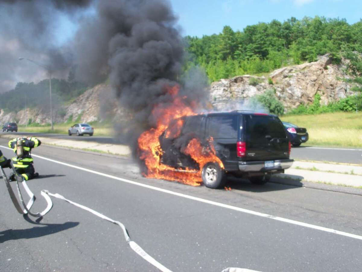 A sport utility vehicle on the Route 7 connector burst into flames Thursday afternoon in Norwalk. Norwalk firefighters extinguished the blaze. The driver escaped uninjured.