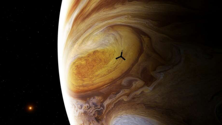 This illustration depicts NASA's Juno spacecraft soaring over Jupiter's south pole. Photo: NASA / SwRI / MSSS