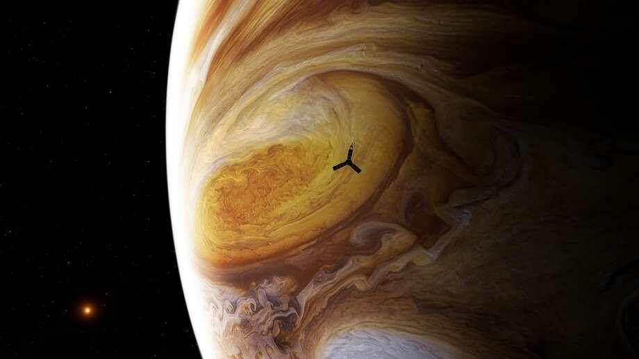 This illustration depicts NASA's Juno spacecraft soaring over Jupiter's south pole. Photo: NASA / SwRI / MSSS