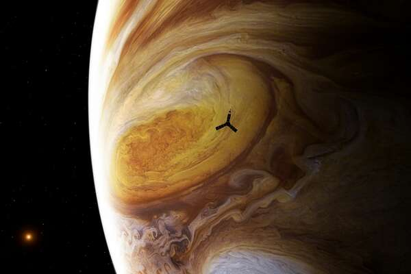 This illustration depicts NASA's Juno spacecraft soaring over Jupiter's south pole.