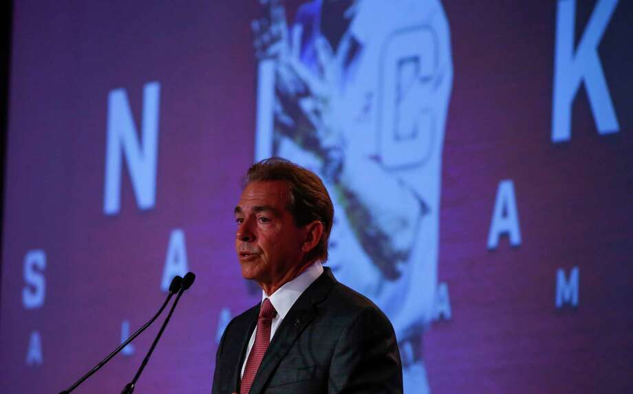 Alabama NCAA college football coach Nick Saban speaks during the Southeastern Conference's annual media gathering, Wednesday, July 12, 2017, in Hoover, Ala. (AP Photo/Butch Dill) Photo: Butch Dill, Associated Press / Associated Press