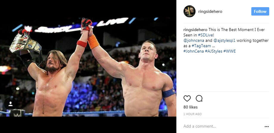 "ringsidehero: ""This is The Best Moment I Ever Seen in #SDLive! @johncena and @ajstylesp1 working together as a #TagTeam ... #JohnCena #AJStyles #WWE"" Photo: Instagram.com/ringsidehero"