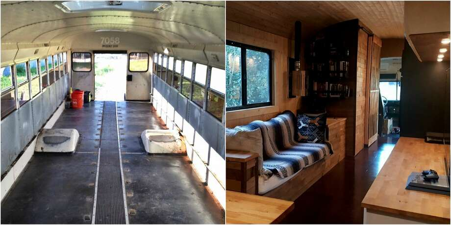 PHOTOS: A man, a school bus, and a planAn Austin man named Michael Talley purchased a surplus school bus and over the course of five months turned it into a tiny home, complete with a bedroom, kitchen, and living room area all on a budget of just $15,000.(Photos: Michael Talley /@intalleyvision on Instagram)Click through to see the evolution of a bus into a tiny home... Photo: Michael Talley