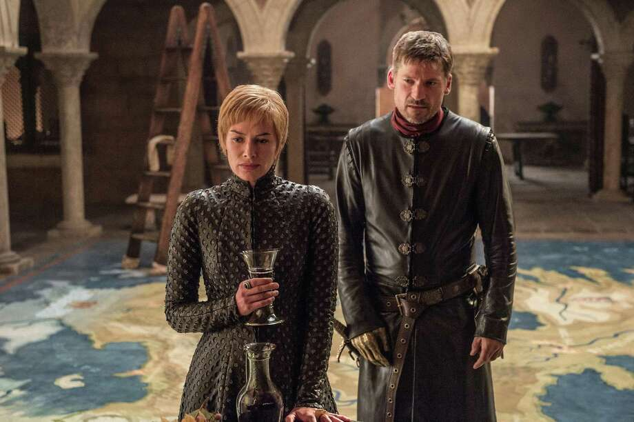 """This photo from the upcoming season seven of """"Game of Thrones,"""" which debuts Sunday on HBO, indicates scheming Cersei Lannister (Lena Headey), seen here alongside Jaime (Nikolaj Coster-Waldau) still loves her wine. Photo: HBO"""