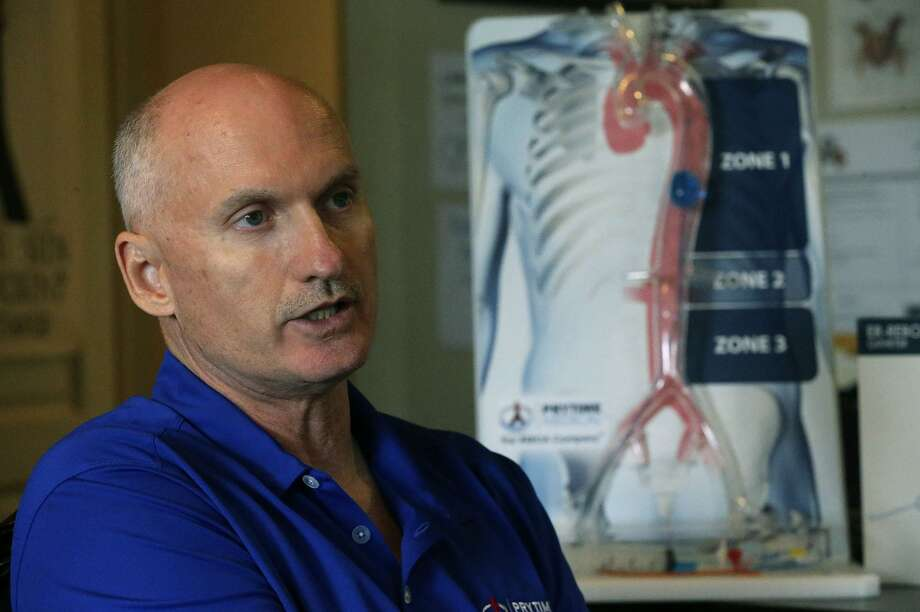 David Spencer, president and CEO of Prytime Medical, speaks Monday June 19, 2017 in his office in Boerne, Texas. Prytime Medical Devices is a medical device company that designs, develops and markets minimally invasive solutions for vascular trauma. Photo: John Davenport /San Antonio Express-News / ©San Antonio Express-News/John Davenport