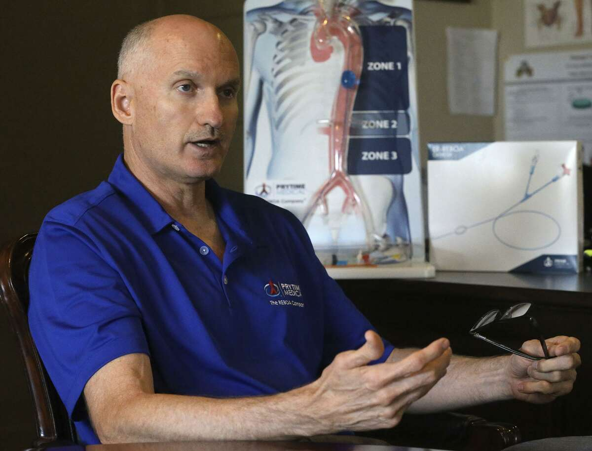 David Spencer, president and CEO of Prytime Medical, speaks Monday June 19, 2017 in his office in Boerne, Texas. Spencer began his career as a civilian engineer with the United States Air Force.