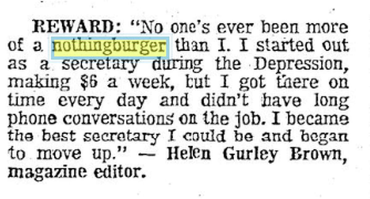 The San Antonio Express-News publishes an excerpt of Cosmopolitan editor Helen Gurley Brown using the term