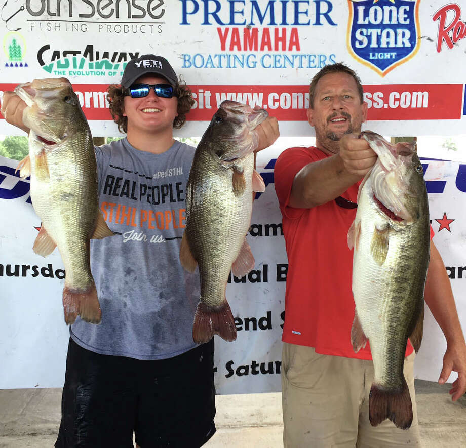 Parker Greer and Scott Offenbecher came in first place in the CONROEBASS Weekend Series Tournament with a stringer weight of 19.45 pounds. Photo: Conroe Bass