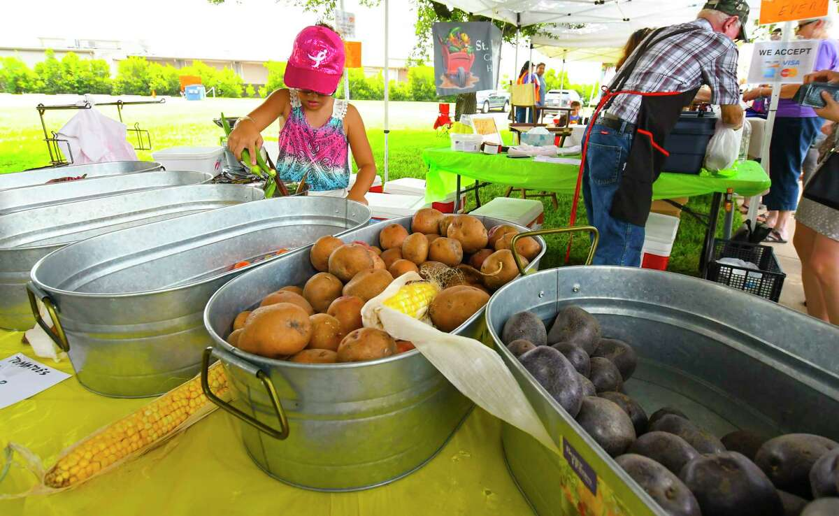 8 year old Rebecca Roberts sells vegetables from the Backyard Bounty Farms booth. The Jersey Village Farmers Market opened July 2. The market, which is held outside of City Hall at 16327 Lakeview Drive, will be held the first Sunday of each month from noon to 3 p.m.