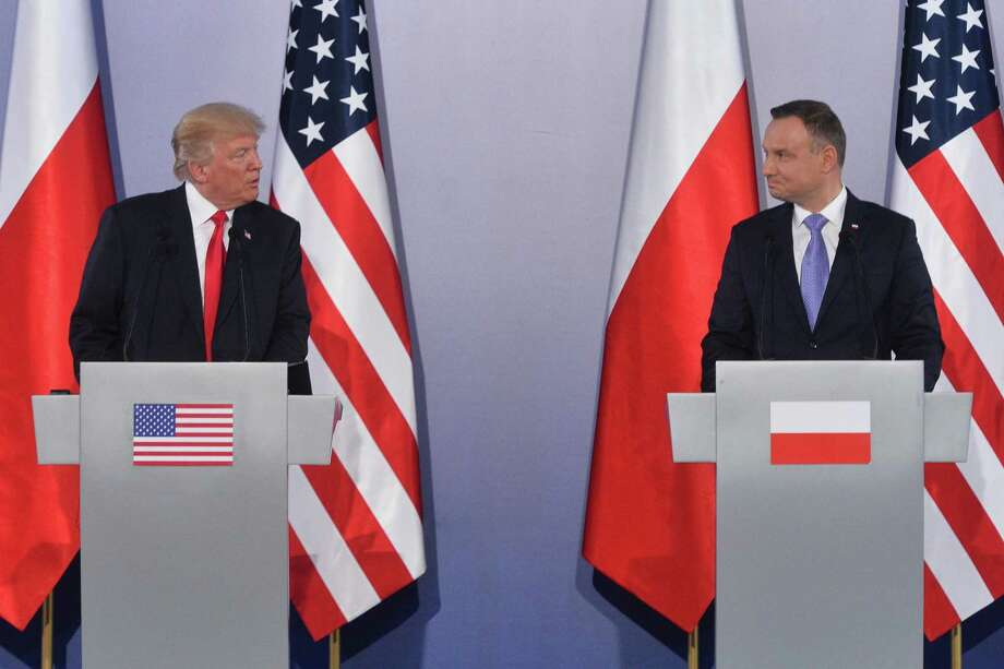 U.S. President Donald Trump and Polish President Andrzej Duda hold a joint news conference last week in Warsaw, Poland. His speech to Poland should have drawn acclaim rather than the scorn from the left he received. Photo: Lukasz Dejnarowicz /FORUM /ZUMAPRESS.COM /TNS / Zuma Press