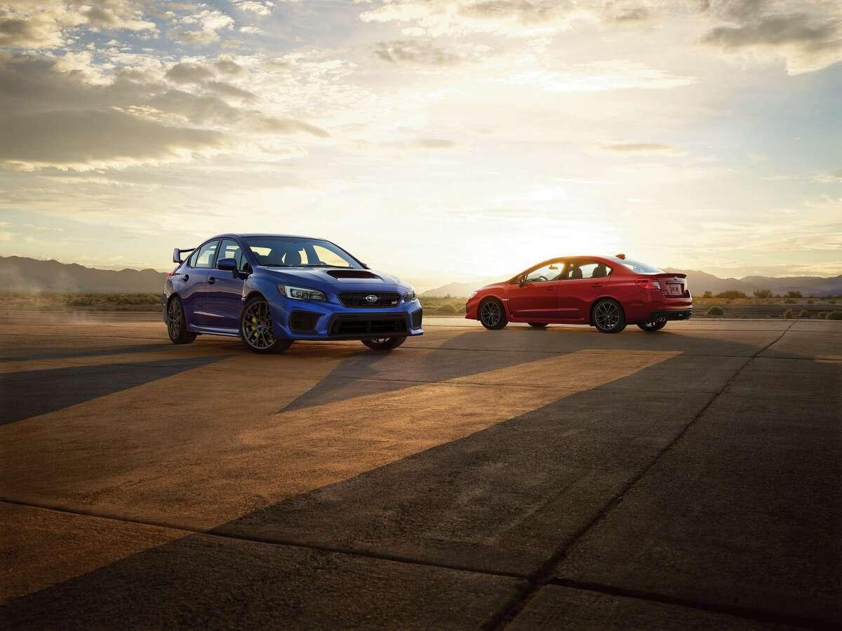 Subaru WRX (pictured left) Rank: 10 MSRP: Starts at $27,195 (2019 model not shown) (Credit: SUBARU)