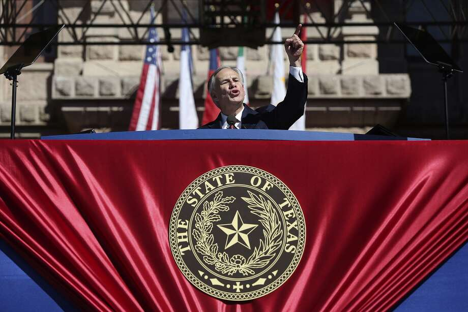 Governor Greg Abbott speaks after being sworn in as Governor during the 2015 Texas Inaugural Oath of Office Ceremony in Austin on Tuesday, Jan. 20, 2015. Photo: Lisa Krantz / San Antonio Express-News / Lisa Krantz/San Antonio Express-News