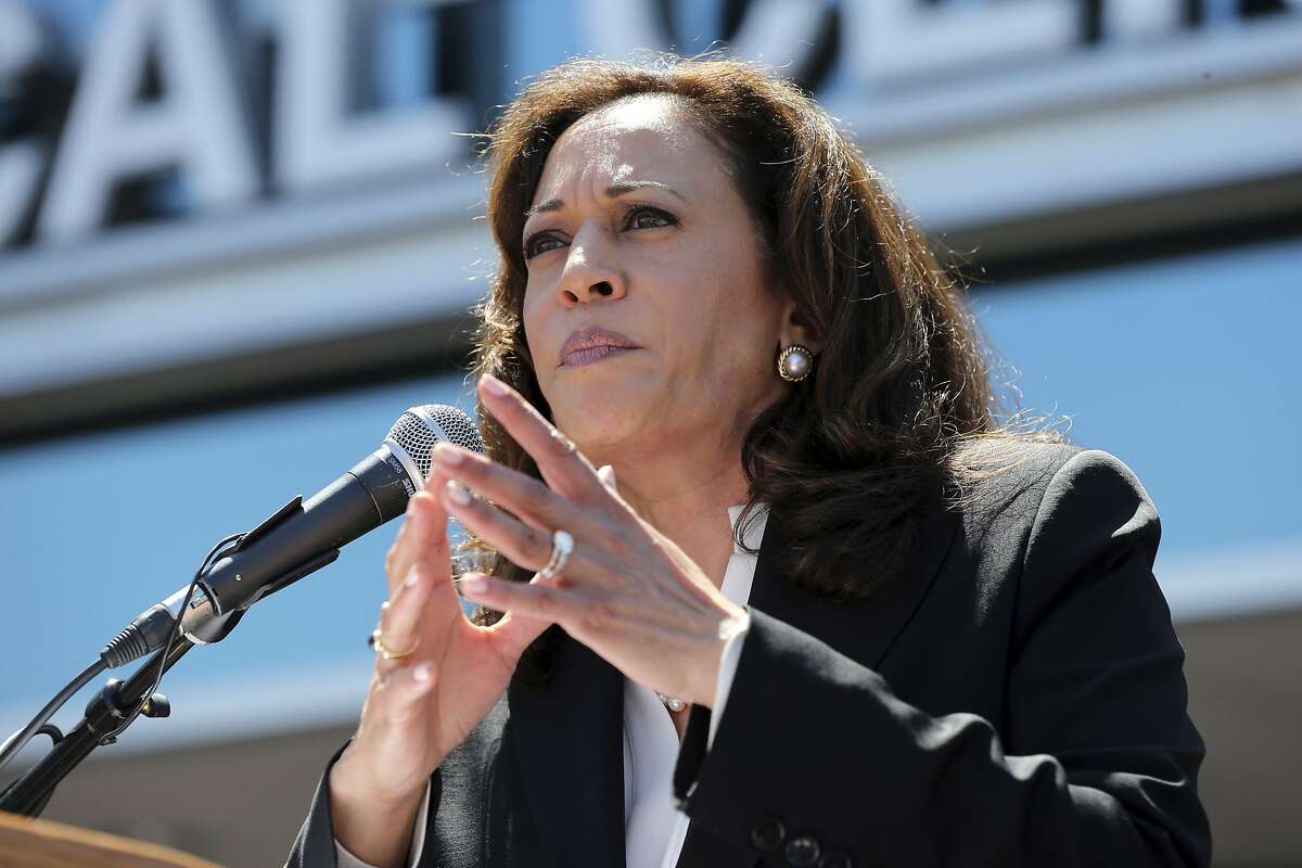 U.S. Sen. Kamala Harris, D-Calif., at a rally against the repeal or replacement of Obamacare, at Harbor-UCLA Medical Center in Torrance, Calif., Monday, July 3, 2017. (AP Photo/Reed Saxon)