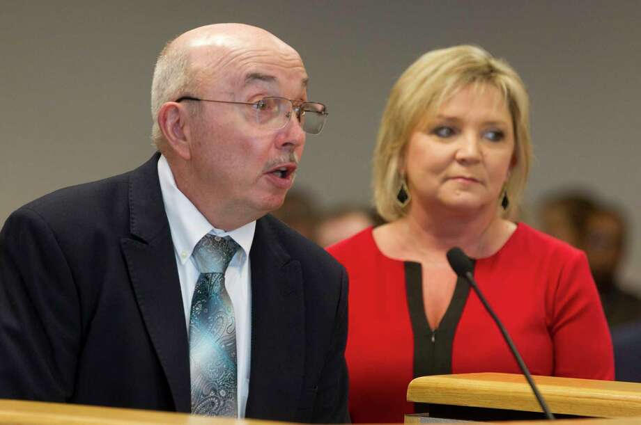 Fred Welch, executive director Greater Conroe Economic Development Council, speaks alongside Montgomery County Tax Assessor Collector Tammy McRae during Commissioners Court at the Alan B. Sadler Commissioners Court Building, Tuesday, July 11, 2017, in Conroe. Photo: Jason Fochtman, Staff Photographer / © 2017 Houston Chronicle