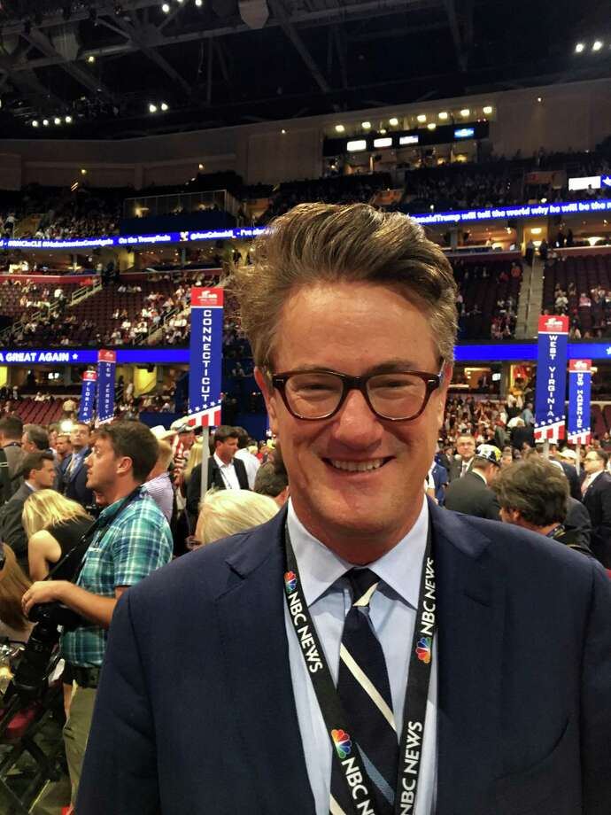 """Joe Scarborough, host of """"Morning Joe"""" on MSNBC and New Canaan, Conn. resident, mingling with Connecticut's GOP delegation in Cleveland, Ohio, on Thursday, July 21, 2016. Photo: Neil Vigdor / Hearst Connecticut Media / Connecticut Post"""