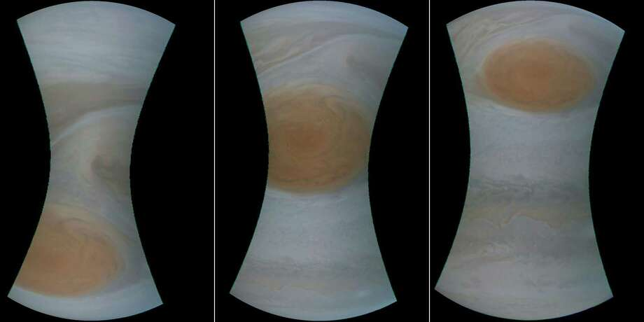 """(COMBO) This combination of pictures created on July 12, 2017 shows a NASA handout image obtained July 12, 2017 of the Great Red Spot on Jupiter.  A NASA spacecraft, Juno, has successfully peered into the giant storm raging on Jupiter, known as the Great Red Spot on July 11, 2017. """"My latest Jupiter flyby is complete!"""" said a post on the @NASAJuno Twitter account. """"All science instruments and JunoCam were operating to collect data.""""The unmanned spacecraft came closer than any before it to the iconic feature on the solar system's largest planet, the gas giant Jupiter.  A NASA spacecraft, Juno, has successfully peered into the giant storm raging on Jupiter, known as the Great Red Spot on July 11, 2017. """"My latest Jupiter flyby is complete!"""" said a post on the @NASAJuno Twitter account. """"All science instruments and JunoCam were operating to collect data.""""The unmanned spacecraft came closer than any before it to the iconic feature on the solar system's largest planet, the gas giant Jupiter.  A NASA spacecraft, Juno, has successfully peered into the giant storm raging on Jupiter, known as the Great Red Spot on July 11, 2017. """"My latest Jupiter flyby is complete!"""" said a post on the @NASAJuno Twitter account. """"All science instruments and JunoCam were operating to collect data.""""The unmanned spacecraft came closer than any before it to the iconic feature on the solar system's largest planet, the gas giant Jupiter.   / AFP PHOTO / NASA/SWRI/MSSS AND NASA / Handout / RESTRICTED TO EDITORIAL USE - MANDATORY CREDIT """"AFP PHOTO /NASA/SWRI/MSSS"""" - NO MARKETING NO ADVERTISING CAMPAIGNS - DISTRIBUTED AS A SERVICE TO CLIENTS       HANDOUT/AFP/Getty Images Photo: HANDOUT, Handout / AFP/Getty Images / AFP"""