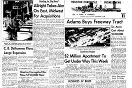Houston Chronicle inside page - December 12, 1965 - section 11, page 1. Allright Takes Aim On East, Midwest For Acquistions