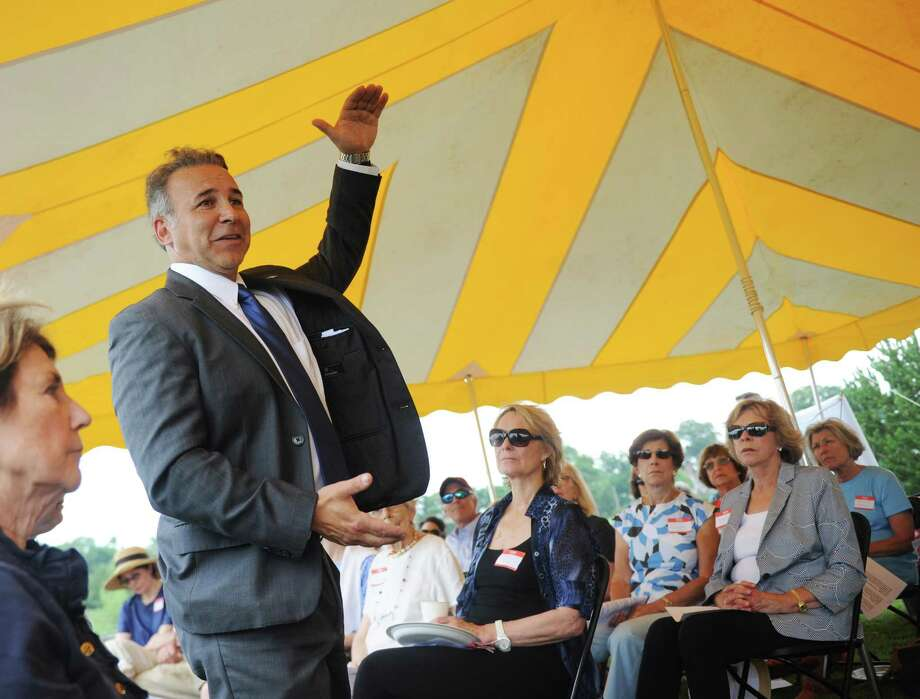 State Rep. Fred Camillo speaks during the annual League of Women Voters Legislative Picnic at a private residence in the Riverside section of Greenwich, Conn. Wednesday, July 12, 2017. State Representatives Livvy Floren, Fred Camillo and Mike Bocchino spoke and answered questions about issues facing Greenwich and the state of Connecticut. Photo: Tyler Sizemore / Hearst Connecticut Media / Greenwich Time