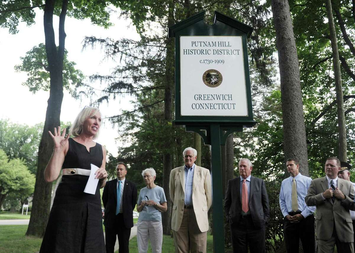 Greenwich Historical Society Executive Director Debra Mecky, Ph.D., speaks during the Greenwich Preservation Network's dedication of Putnam Hill historic marker outside the Tomes-Higgins House in Greenwich, Conn. Wednesday, July 12, 2017. The marker formalizes the historic value of Putnam Hill, which is named after Revolutionary War general Israel Putnam.