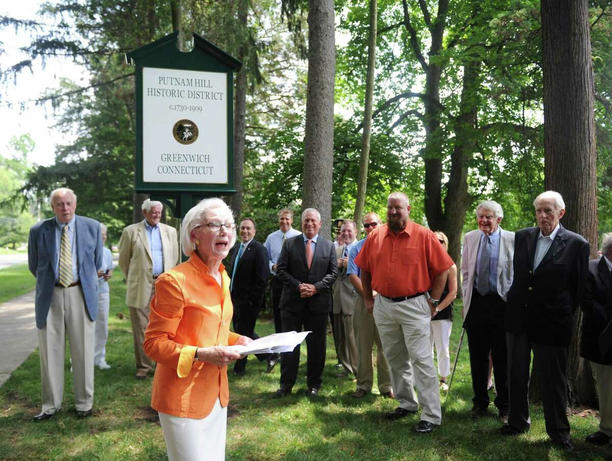 Greenwich Historical Society Board of Directors Chair Davidde Strackbein speaks during the Greenwich Preservation Network's dedication of Putnam Hill historic marker outside the Tomes-Higgins House in Greenwich, Conn. Wednesday, July 12, 2017. The marker formalizes the historic value of Putnam Hill, which is named after Revolutionary War general Israel Putnam.