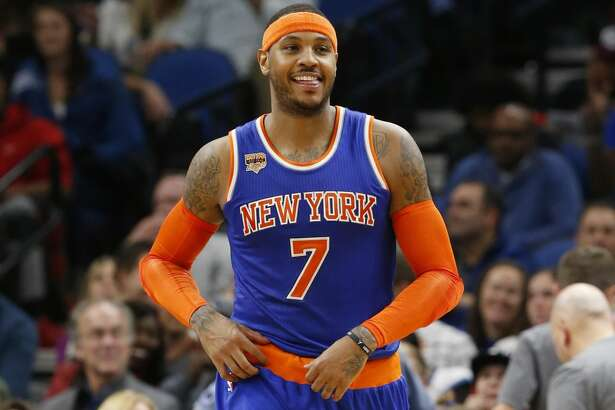 New York Knicks' Carmelo Anthony plays against the Minnesota Timberwolves during the second half of an NBA basketball game Wednesday, Nov. 30, 2016, in Minneapolis. (AP Photo/Jim Mone)