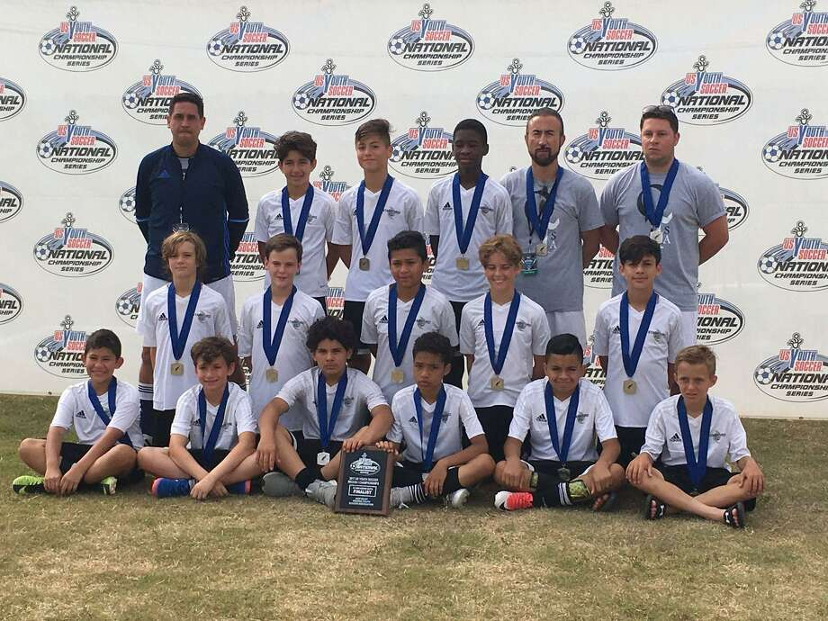 The Stamford Youth Soccer League's Stamford FC U12 Boys Elite, who won the CT State Cup in June, defeated four top teams from top clubs to finish 2nd in the east coast region at the distinguished 2017 US Youth Soccer National Championship Series, one of the oldest and most prestigious national youth soccer tournaments. Front row, seated, from left:  Sebastian Ortiz Salazar, Will Herckis, Lyon Atiencia, Oscar Gonzalez, Sebastian Caltenco, William Anderson; second row from left:  Luke Vander Kolk, Johnny Couch, Edwin Medina, Antonio Ninivaggi, Lucas Fernandez; back row, standing, from left:  QTSA Head Coach Jason Segovia, Massimo Costa, Arian Recinos, Darsein Gabriel, QTSA Coach Mike Tripuzzi, QTSA Coach, Ezennio Mallozzi. Photo: Contributed Photo / Contributed Photo / Stamford Advocate Contributed