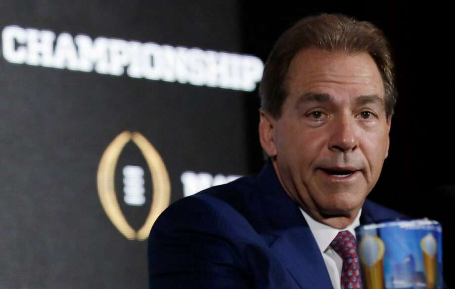 In this Jan. 8, 2017, file photo, Alabama head coach Nick Saban answers questions during a news conference for the NCAA college football playoff championship game in Tampa, Fla. It's Nick Saban and Alabama's turn at Southeastern Conference media days. The contingent from the Crimson Tide, the popular pick to win a fourth straight SEC title, makes the short trip from Tuscaloosa and as usual is expected to greeted by a large group of fans in the hotel lobby. Photo: David J. Phillip /AP Photo