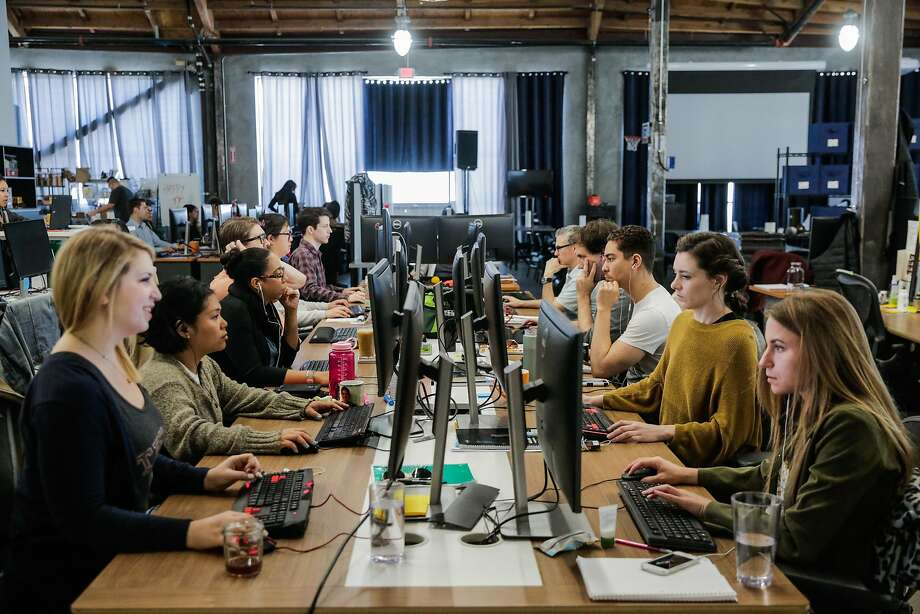 Workers at their desks in March at Cruise Automation, a San Francisco company that provides technology for self-driving cars. Photo: Gabrielle Lurie, The Chronicle