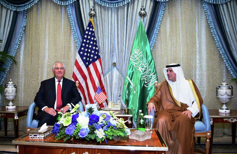 U.S. Secretary of State Rex Tillerson, left, meets with Saudi Foreign Minister Adel al-Jubeir in Jiddah, Saudi Arabia, Wednesday, July 12, 2017. (U.S. State Department, via AP) Photo: HOGP / U.S. State Department