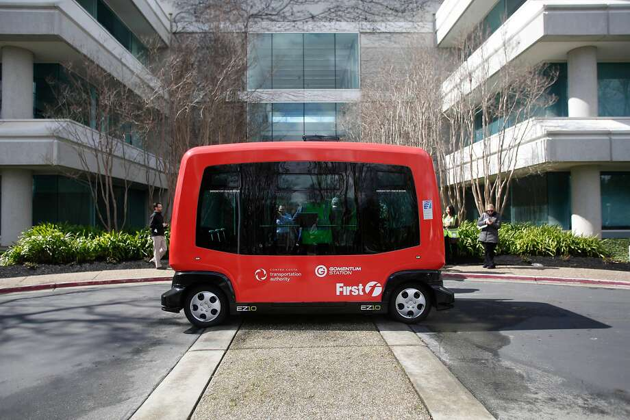 An EZ10 Shared Autonomous Vehicle takes people on a route around a parking lot at Bishop Ranch in San Ramon in March. Photo: Lea Suzuki, The Chronicle