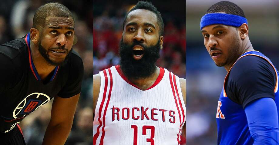 Split photo of Chris Paul, James Harden and Carmelo Anthony.  Photo: AP/Getty