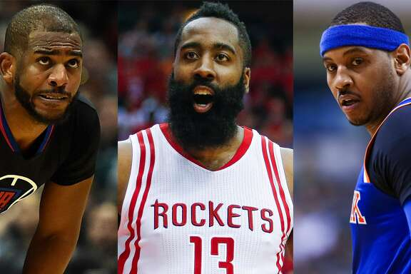 Split photo of Chris Paul, James Harden and Carmelo Anthony.