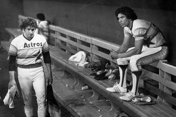 Jose Cruz, right, stares forlornly at the field where the Phillies had just eliminated his Astros from the National League Championship Series in 1980.