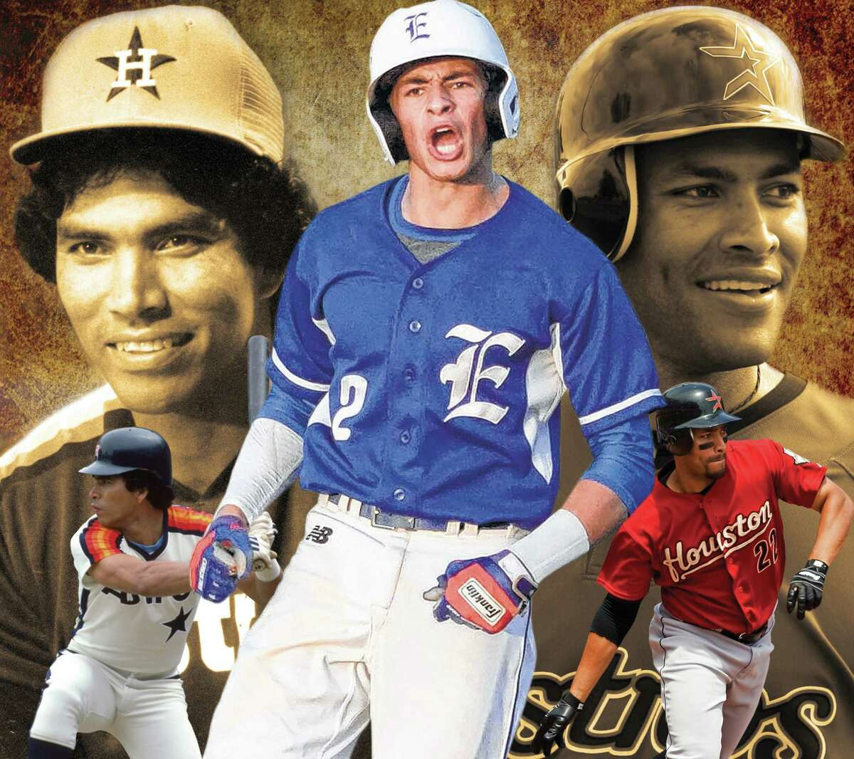 After excelling at Episcopal, Trei Cruz, center, was drafted in 2017 by the Astros, for whom his grandfather, Jose Cruz, left, starred. But Trei delayed professional goals to attend Rice where his dad, Jose Jr., was a three-time All-American.