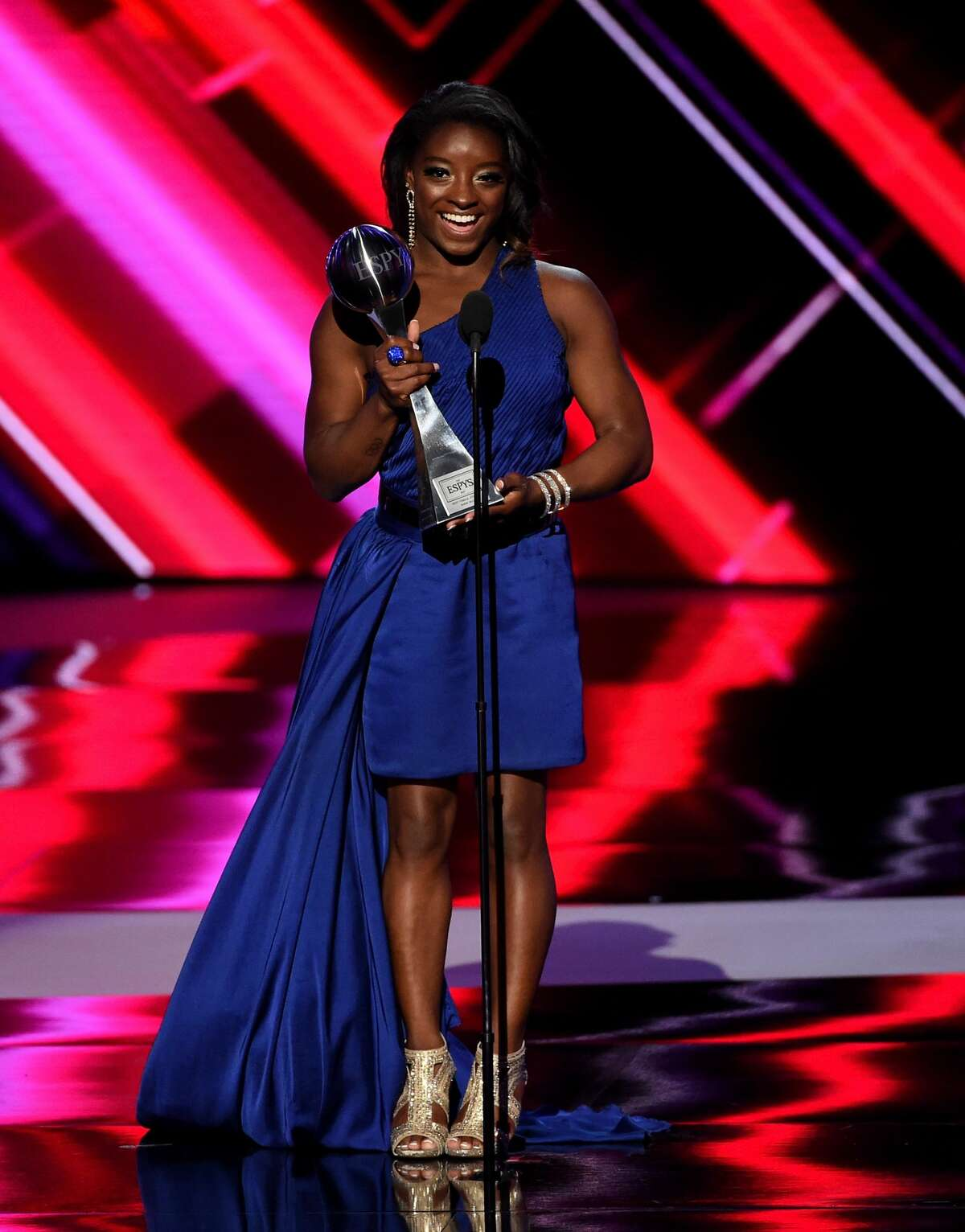 LOS ANGELES, CA - JULY 12: Olympic gymnast Simone Biles accepts the Best Female Athlete award onstage at The 2017 ESPYS at Microsoft Theater on July 12, 2017 in Los Angeles, California. (Photo by Kevin Winter/Getty Images)
