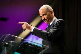 Former U.S. Attorney General Eric Holder introduces the 2017 Mathew O. Tobriner Public Service Award to the Honorable Thelton E. Henderson at Legal Aid at Work's 2017 Annual Dinner at the Westin St. Francis in San Francisco, Calif. Wednesday, July 10, 2017.