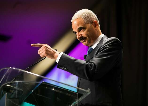 In SF, ex-attorney general Holder tells left to keep fighting
