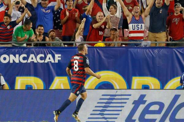 TAMPA, FL - JULY 12: Jordan Morris #8 of the United States celebrates a goal against Martinique during the second half of the CONCACAF Group B match at Raymond James Stadium on July 12, 2017 in Tampa, Florida. (Photo by Mike Carlson/Getty Images)
